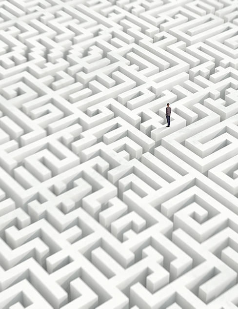 Man standing in a maze