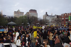 A picture of a protest in Union Square, New York, NY.